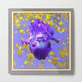 Purple Iris Yellow Daffodils  Lilac Abstract Metal Print