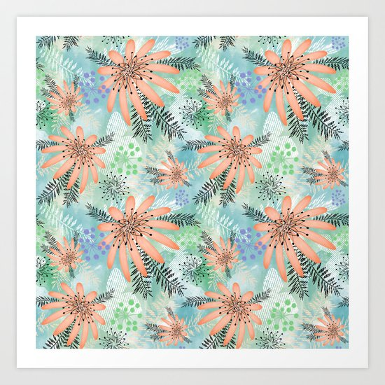 Pink - orange flowers on watercolor background. Art Print