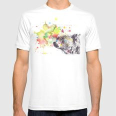 Portrait Of a Grizzly Brown Bear Mens Fitted Tee White MEDIUM