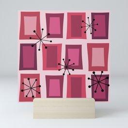 Mid Century Modern Art 'Wonky Doors' Pink Purple Mini Art Print