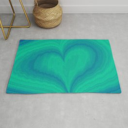 Abstract Blue Green Heart Wave Pattern | Valentine's Day Rug
