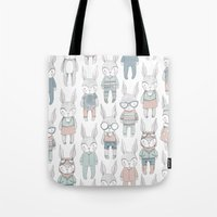 bunnies Tote Bags featuring BUNNIES by Catalina Graphic