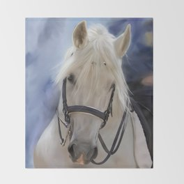 Painted White Horse head Throw Blanket