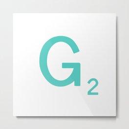 Aqua Letter G Custom Scrabble Metal Print