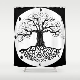 black and white tree of life with moon phases and celtic trinity knot III Shower Curtain