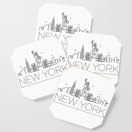 Minimal New York Skyline Design Coaster