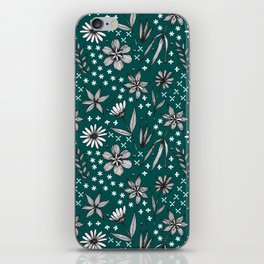 black and white floral on a dark teal background iPhone Skin