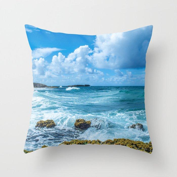 Ocean Blue San Juan Puerto Rico Throw Pillow