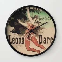 Hippodrome Leona Dare 1883 By Jules Cheret | Reproduction Art Nouveau Wall Clock