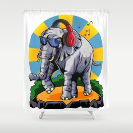 Hipster Elephant | Cool Glasses Headphones Swag Shower Curtain