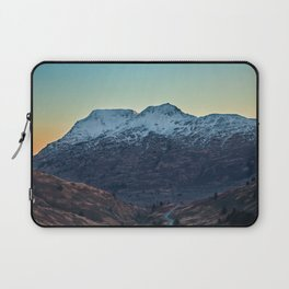Sunset on a Snow Covered Mountain Photography Print Laptop Sleeve