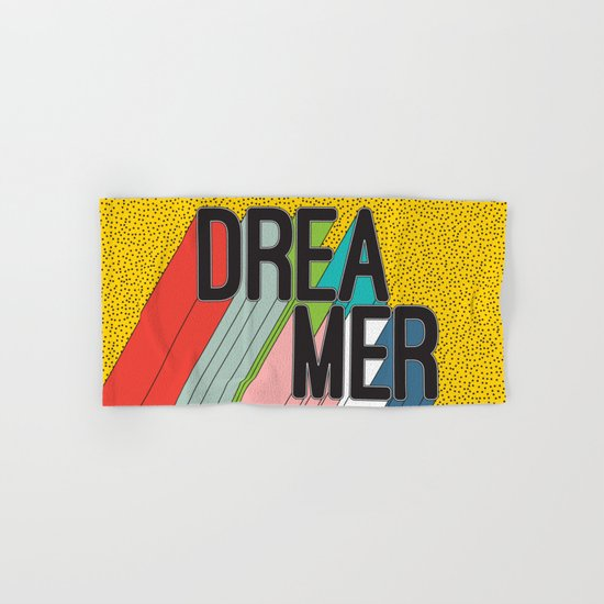 Dreamer Typography Color Poster Dream Imagine Hand & Bath Towel