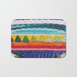 Rainbow Tribal Embroidery Bath Mat