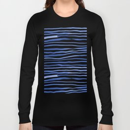 Irregular watercolor lines - blue Long Sleeve T-shirt