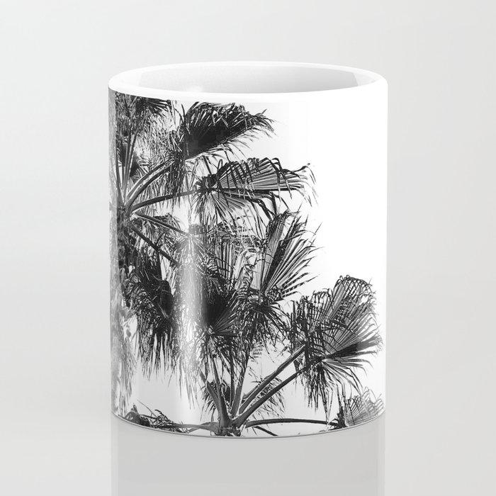 B&W Palm Tree Print   Black and White Summer Sky Beach Surfing Photography Art Coffee Mug