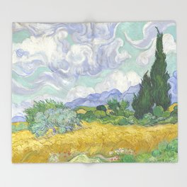 A Wheatfield with Cypresses by Vincent van Gogh Throw Blanket