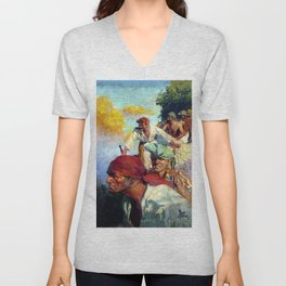 """Treasure Island Pirates"" by Frank Godwin Unisex V-Neck"