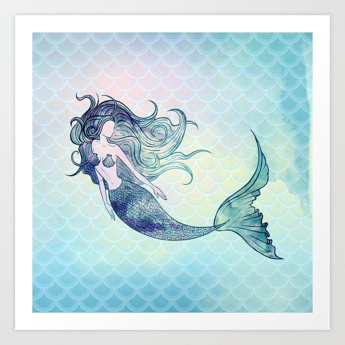 Watercolor Mermaid Kunstdrucke