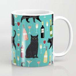 Black cat wine champagne cocktails cat breeds cat lover pattern art print Coffee Mug