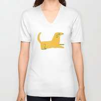 lab V-neck T-shirts featuring yellow lab  by sarah green