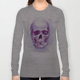 Skull Watercolor Purple Pink Skulls Long Sleeve T-shirt
