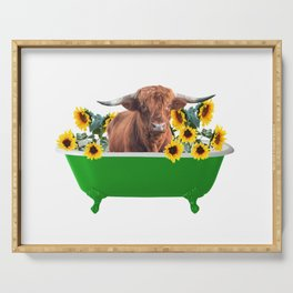 Highland cow - green Bathtub - sunflower blossoms Serving Tray
