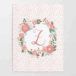 Monogram Z - cute girls coral florals flower wreath, coral florals, baby girl, baby blanket Poster