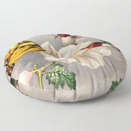 Ruby-throated Hummingbirds & Butterfly Portrait Floor Pillow