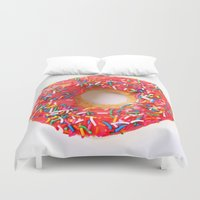 doughnut Duvet Covers featuring Pink Doughnut by L.A.G.