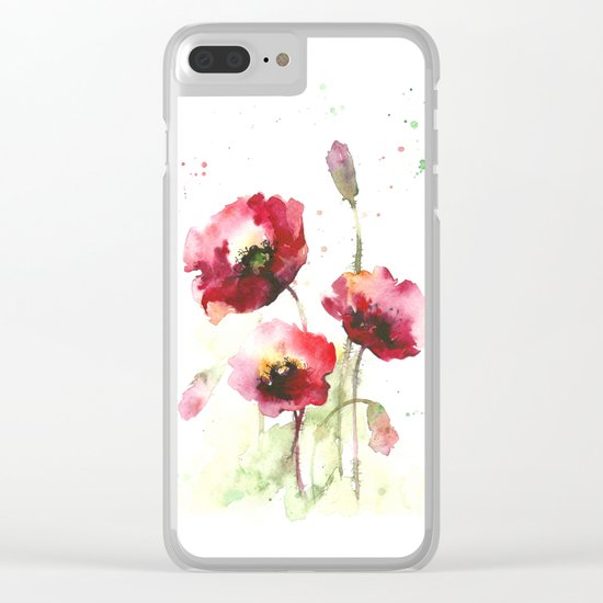 Watercolor flowers of poppy Clear iPhone Case