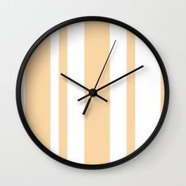 Mixed Vertical Stripes - White and Sunset Orange Wall Clock
