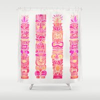 tiki Shower Curtains featuring Tiki Totems – Pink Palette by Cat Coquillette