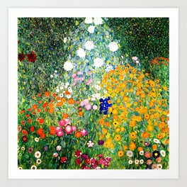 Flower Garden by Gustav Klimt vibrant Art Print