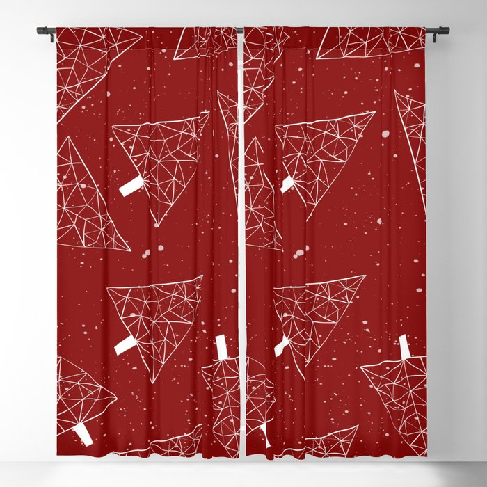 Christmas Curtains.Christmas Trees Red Blackout Curtain By Lavieclaire