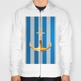 Blue and White  Vertical Lines and Gold Anchor Hoody