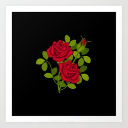 Painted Red Roses Art Print