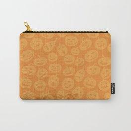 Festive gradient orange hand drawn halloween pumpkins pattern Carry-All Pouch