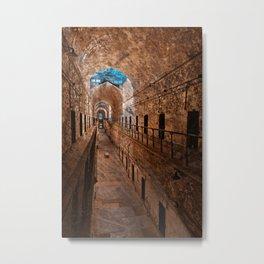 Prison Corridor - Sepia Blues Metal Print