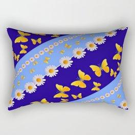 BLUE ART YELLOW BUTTERFLIES & WHITE DAISIES  DIAGONAL STRIPES Rectangular Pillow