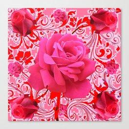 DECORATIVE  RED-PINK BROCADE CERISE ROSES ART Canvas Print