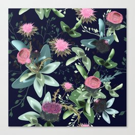 Fashion textile floral vector pattern with clover and field flowers Canvas Print