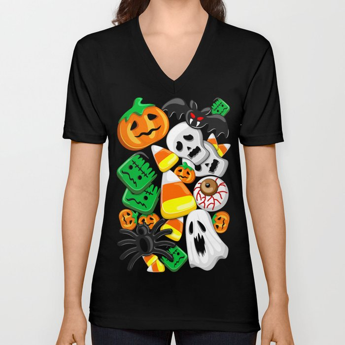 Halloween Spooky Candies Party Unisex V-Neck