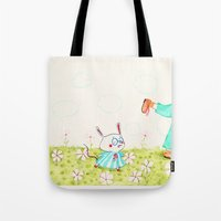 mouse Tote Bags featuring Mouse by Maureen Poignonec