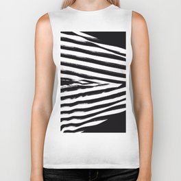 Black & White Stripes Biker Tank