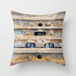 Rusty excavator caterpillar Throw Pillow