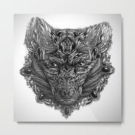 Ornament Bear - Black & White  Metal Print