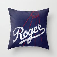 dodgers Throw Pillows featuring Roger That! by Robert Farkas