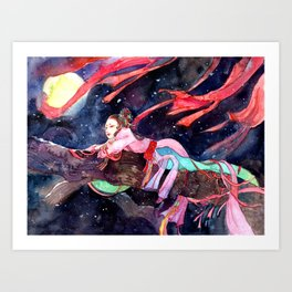 Watercolor Chinese Beauty in the moonlight Art Print