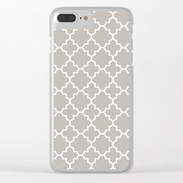 Classic Quatrefoil pattern, warm grey Clear iPhone Case