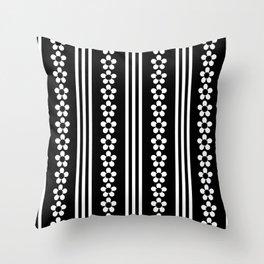 Daisy Chain Series - White on Black Throw Pillow